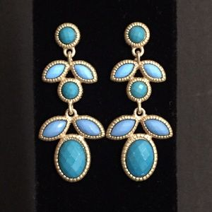 Brushed Gold and Blues Earrings-New